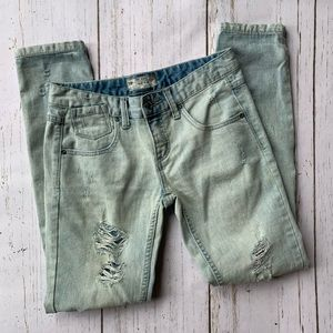 Free People Light Washed Destroyed Skinny Jeans